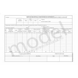 Nota de Receptie si Constatare de Diferente in Unitatile cu Amanuntul, Carnet A4, 2 Ex., 50 Seturi