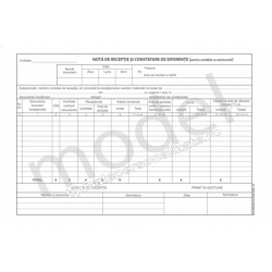 Nota de Receptie si Constatare de Diferente, Carnet A4, 2 Ex., 50 Seturi